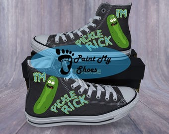 Custom shoes, Pickle, converse, hand painted shoes, free shipping in the US