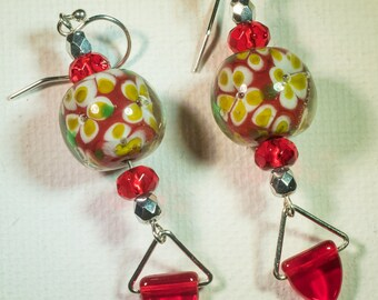 Red and yellow floral earrings-A127