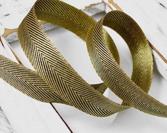 "3/4"" (20mm) Metallic Twilled Ribbon Trim by 2-yards, Gold, Silver, STEP-137"