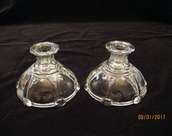 Vintage Oyster and Pearl Crystal Candle Holders