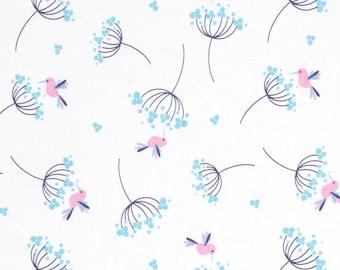 Wildflower Meadow Birds Blue - One Yard - Riley Blake Fabric