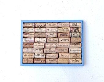 Blue Cork Board repurposed from a Taiwanese Wooden Box - A Perfect Addition to the Wine Bar at your Wedding Reception