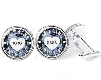 C34 pattern - glass cabochon cufflinks