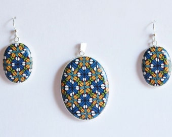 Polymer clay earring and pendant set