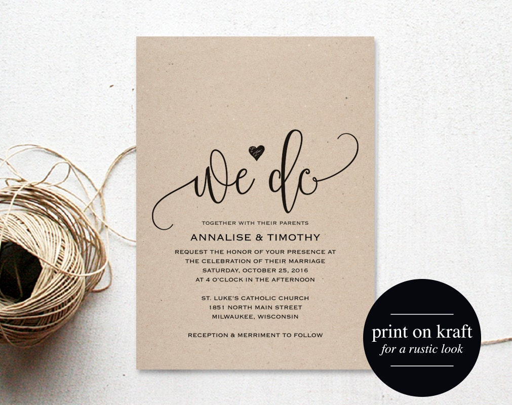 We Do Wedding Invitation Template Rustic Kraft Invitation