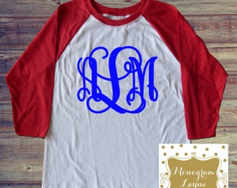 Youth Monogram Baseball Tee - Youth Monogram Shirt - Monogram Tee - Monogram Raglan Tee - Raglan Tee - Baseball Shirt - Monogram Layne