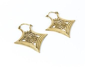 Brass flower design tribal hoop earring, gypsy inspired handmade , Belly dance jewellery , Festival Jewelry, Gift boxed, Free UK post BG3
