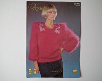 Original Sirdar 8106 Vintage Knitting Pattern, Nocturne Mohair, Lady's Sweater, Hand Knit Pattern, Size 30-40 inches, 76-102 cm, 1980s
