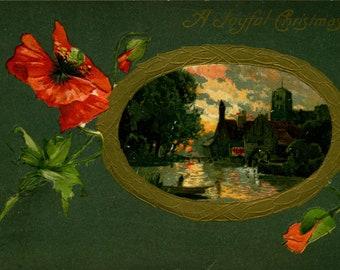 A Joyful Christmas, Rural, Water Mill, Scene, View, c1910 Embossed, Vintage Postcard XM733902