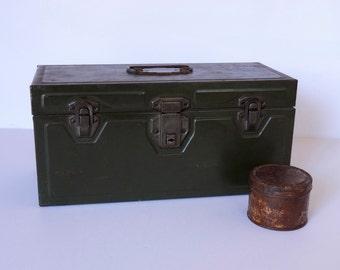 Vintage UNION Utility Chest, Le Roy, N.Y., U.S.A, Green Industrial Storage Box
