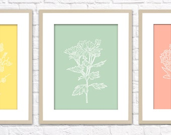 Botanical Set Art Print / Choose from Six Species / 8x10 / Wall Art Poster