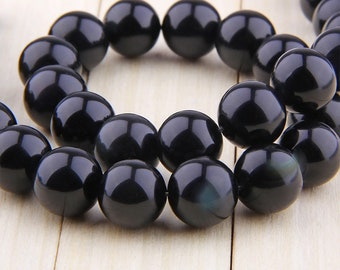 12mm Natural Black Obsidian Beads , Round Polished Black Obsidian Beads , Gemstone Beads , Loose Beads Supply  15.5 inch Strand