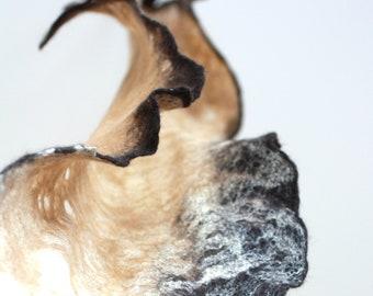 Women felted scarf cobweb felt wool silk shawl - brown beige - spring scarf