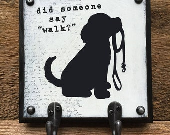 Dog leash holder, Dog Leash Hook, Dog Leash Hanger, Dog Silhouette Art, Dog Leashes, Hook, Holder, Wall Hanging, Pet Silhouette