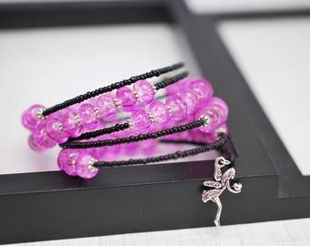Black and Purple Bracelet, Memory Wire Bracelet, Beaded Wrap Bracelet, Wrap Bracelet, Purple Bracelet, Seed Bead Bracelet, Black Bracelet