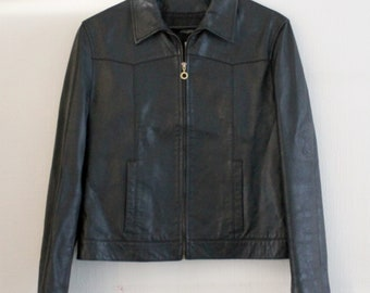 Superb Versace Jeans Couture black leather jacket WITH Medusa !