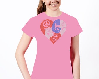 Peace Heart Rhinestone T-Shirt
