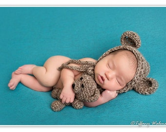 Crochet Newborn baby bear bonnet & teddy bear set crochet Newborn photo props photography boy/girl- Made to order