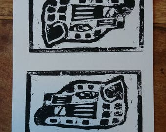Aztec Jaguar Woodcut Print