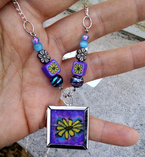 Purple and Yellow Flower Glass Tile Necklace