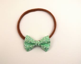 Freshmint Glitter TINY Bow Headband ONE SIZE fits All Adorable Photo Prop for Newborn Baby Little Girl Child Christmas Green Pretty Bow