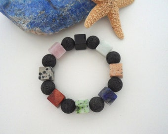 Sumptuous bracelet lava & stone mix (14 mm)