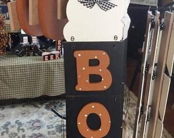 Boo, Vertical  4 pc. block sign