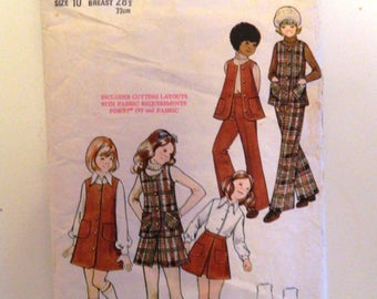 Butterick Vintage Sewing Pattern 6848  Size Age 10 Years Girls Vest Jumper Skirt Pants Trousers