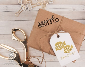 Two Tuxedo Fish Wedding Favors | Letterpress Foil Gift Tags | Bride and Groom Gifts | social graces co
