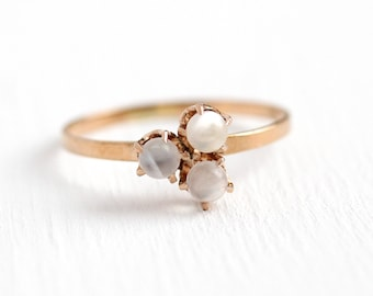 Antique Moonstone Ring - 10k Rosy Yellow Gold Victorian Gem Cluster Ring -  1900s Vintage Size 7 1/4 White Orb Round Gemstone Fine Jewelry