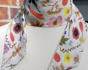 Skinny Scarf,dark floral scarves, Spring Meadow Crepe de chine, scarves for women, neck scarf, neck tie, flower garden scarf, wrap
