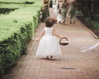 Flower Girl Basket Nest Rustic, Paper Roses Rustic Wedding, Shabby Chic Wedding