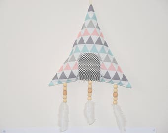 Mobile shape * TIPI * fabric / beads and feathers - baby room decor / kids - triangles pattern