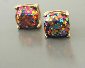 Sequin Earrings - Gold Earrings - Colorful Earrings - Stud Earrings - Party Earrings - Rainbow Sequin - Sparkle Earrings - Party Earrings