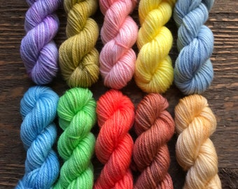 Hand Dyed Sock Yarn Mini Skein Set Tonal #27 -- 10 Mini Skeins/25 Yards Each