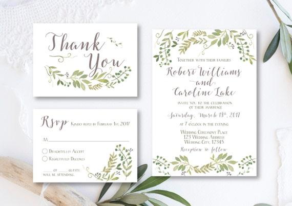 Grüne Hochzeit Einladung botanische Hochzeitseinladung Olive