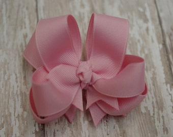 """Girls Hair Bow Pink Double Layered 4"""" Boutique Hairbow"""