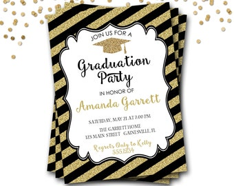 Black and Gold Graduation Invitation, Gold Graduation Invitation, Black and Gold Graduation Invite, Glitter Invitation, DIY Printable