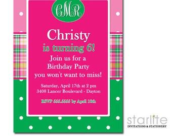 Preppy Birthday Invitation Girl, Birthday Invitation Girl Preppy, Hot Pink and Green Birthday Invitation ANY AGE, Birthday Invite Monogram