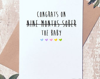 Funny new baby card, new parents, card for couple, congratulations, new baby card, funny greeting card, new mum card, new dad card