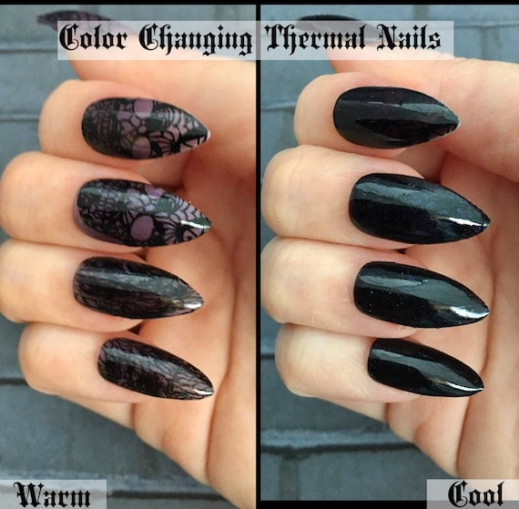 Undercover Skull Color Changing Stiletto Nails Gothic Press