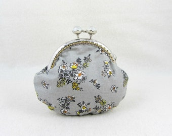 Floral coin purse, change purse, frame coin pouch, gift for her, yellow and grey,  kiss lock purse, mini storage