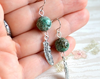 Agate and Feather earrings Green feather jewelry gifts for her Dangle earrings Tribal jewelry Green earrings Bohemian earrings