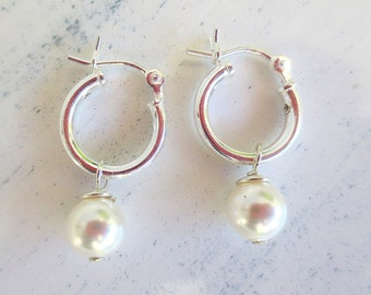 SALE 40% OFF Sterling Silver Hoops and White Swarovski Crystal Pearl Girls Earrings