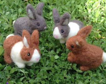 Needle Felted Rabbit Handmade Bunny small made to order