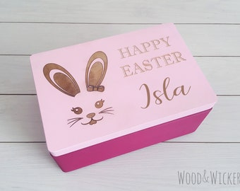 Easter Box - Easter Treats Box - Easter Bunny Box - Easter Crate - Easter Kids Gift - Easter Hunting - Personalised Box - Wooden Box