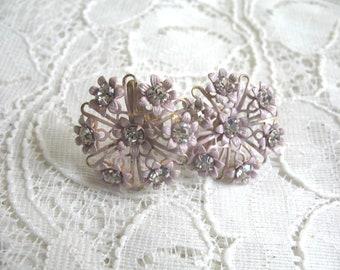 Vintage Enamel Flower & Rhinestone Earrings ~ Screwbacks ~ Lavender Pink
