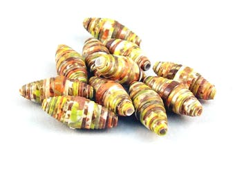 Paper Tube Beads Handmade in Earthy Colors