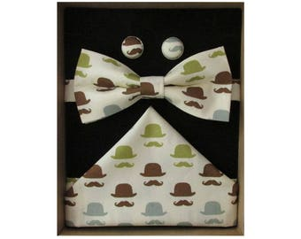 Moustache & Bowler Hat Bow Tie Boxed Gift Set