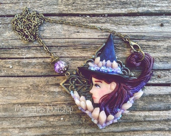 Amethyst witch necklace polymer clay